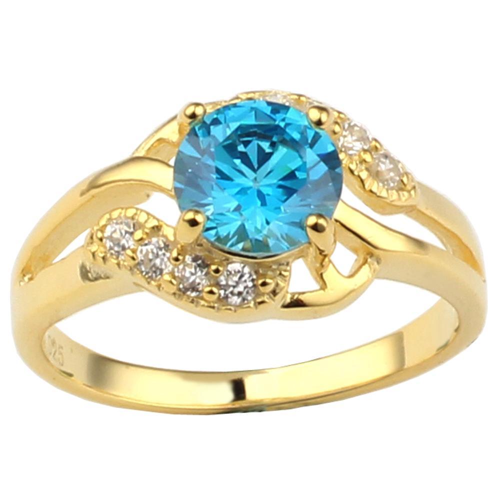 Anello in argento sterling color oro 925 per donne Topazio Blu CZ 7.0mm Cubic Zirconia Miglior regalo di compleanno Taglie Colori selezionabili R096