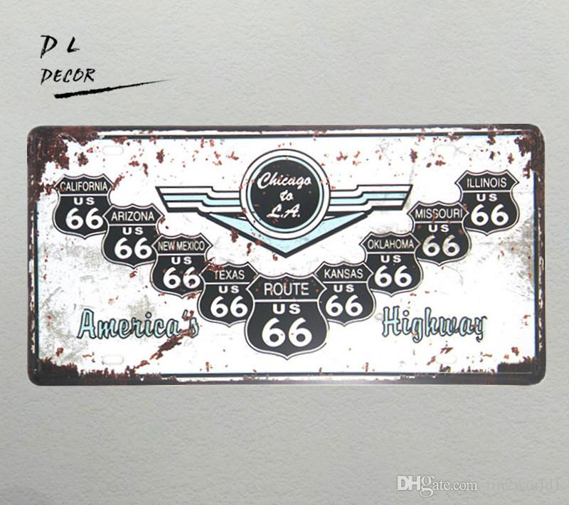 DL- Route66 highway License plate Metal sign art Poster garage wall stickers