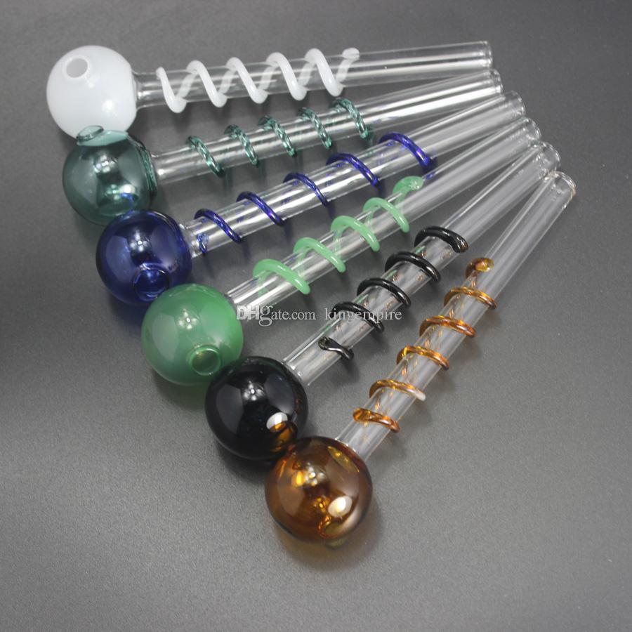 5.5 дюймов масляная горелка курительная трубка рука стеклянная труба спираль дизайн трубы стеклянная трубка мини стекло Бонг
