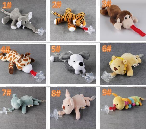 10 Stil neuer Silikon-Tier-Schnuller mit Plüsch-Spielzeug-Baby-Giraffen-Elefantennippel Kinder Neugeborene Kleinkind Kinderprodukte umfassen Schnuller