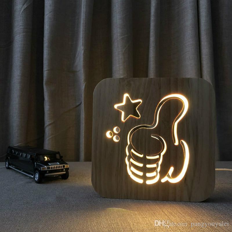 Intagliando il modello 3D LED Nightlight della lampada Nightlight legno Lode USB fotovoltaico per uso domestico Camera scrittorio della Tabella decorazione della lampada di legno 3D LED NightLight