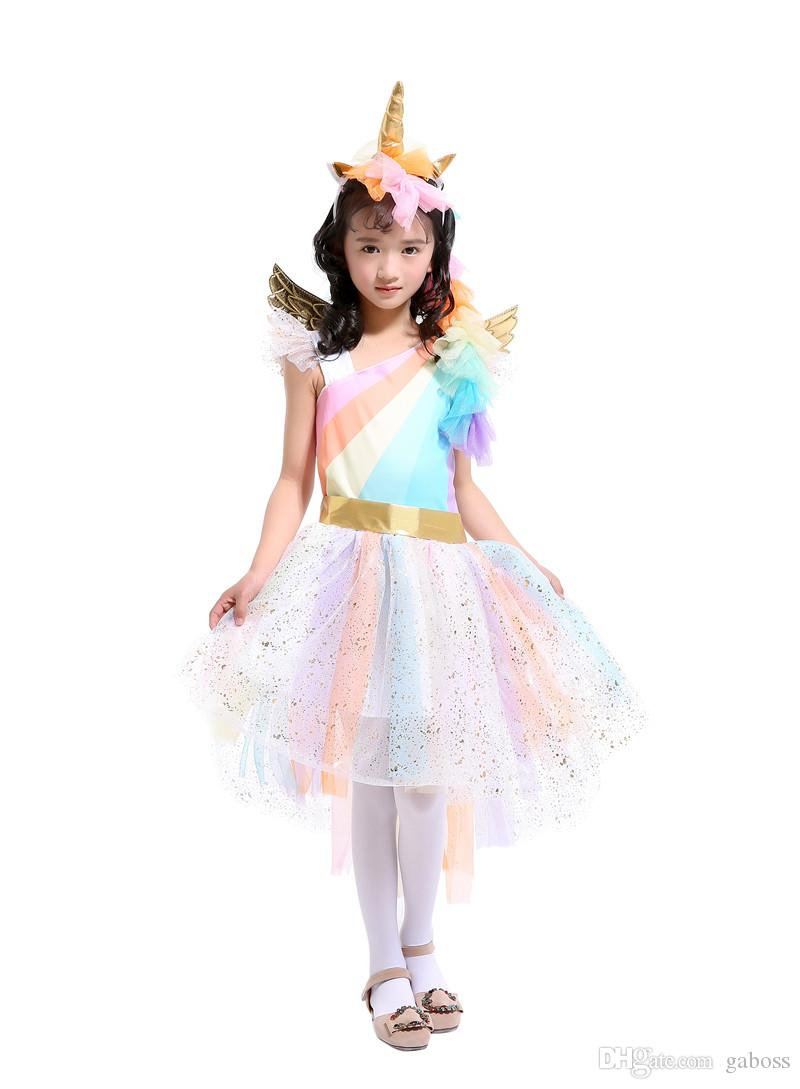 Unique Girls\u0027 Deluxe Rainbow Unicorn Costume With Wings For Halloween  Unicorn Cosplay Costumes Black And White Costumes Themed Party Costumes  Themes