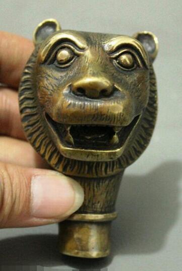China Cabeza de bastón tallada a mano de bronce tallada a mano de tigre animal estatua de bronce