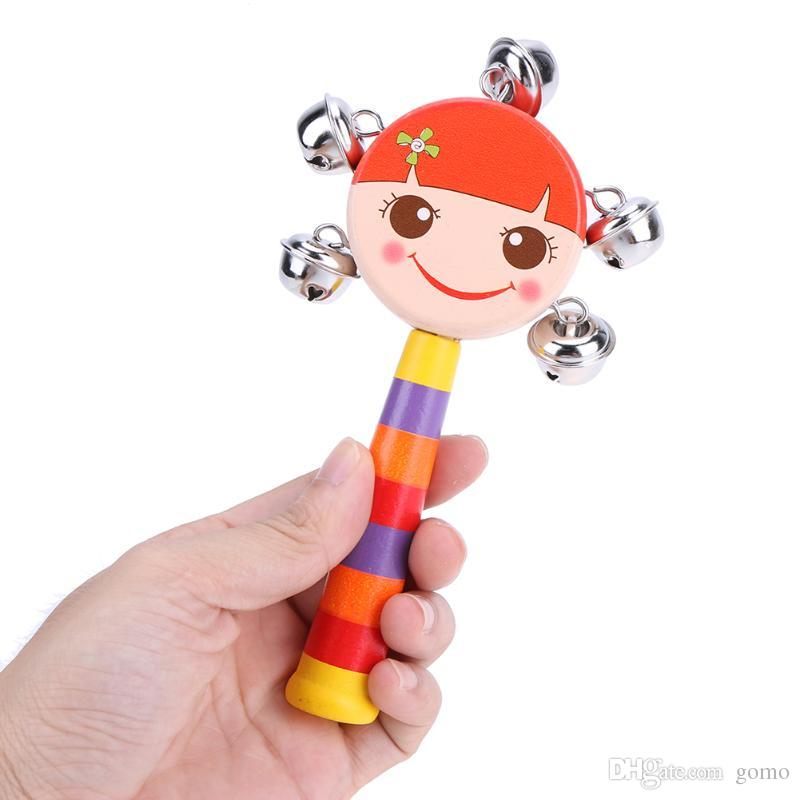 Baby Wooden Handbell Rattle Toy Children Early-educational Learning Toys Jingle Bells Rainbow Hand Shake Bell Accessaries