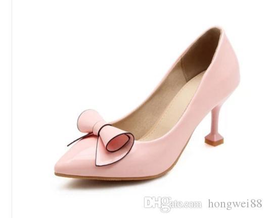 Envío gratis caliente refrescante bowknot punteado zapatos de tacón alto 44-48 zapatos de mujer
