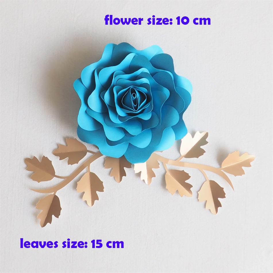 DIY Yapay Çiçekler 10 CM + 15 CM Fleurs Artificielles Backdrop Bırakır DIY Dev Kağıt Çiçekler Düğün Dekor Bebek Duş