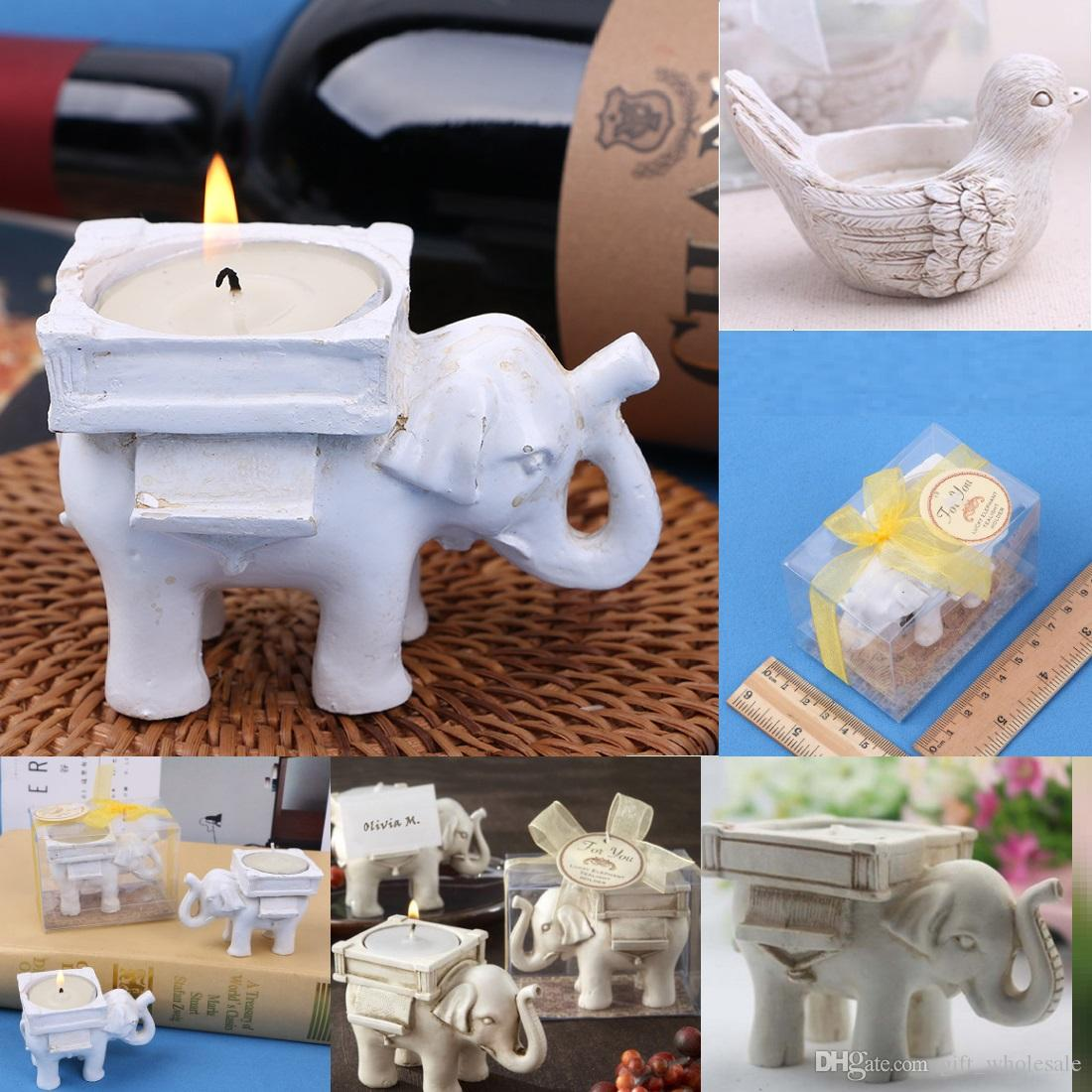 Hot Style Resin Ivory Lucky Elephant Tea Light Candle Holder Wedding Party Home Decoration Gift Durable Candlestick