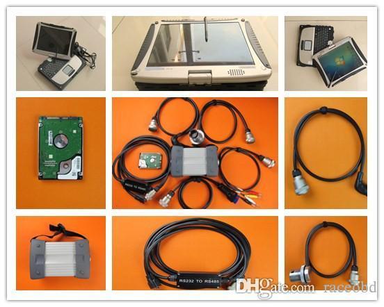 Strumento diagnostico MB Star C3 con HDD da 120 GB installato in CF-19 Touch Screen Laptop Computer 3G Kit completo