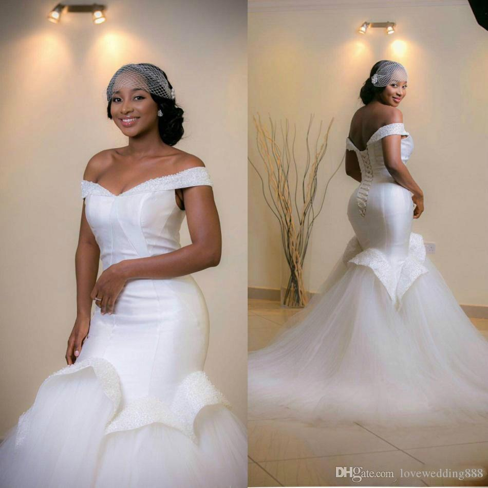 2019 Cheap Elegant Off Shoulder Mermaid Wedding Dresses Ruffles Tulle Shirt Satin Beads African Bridal Gowns Plus Size Lace Up