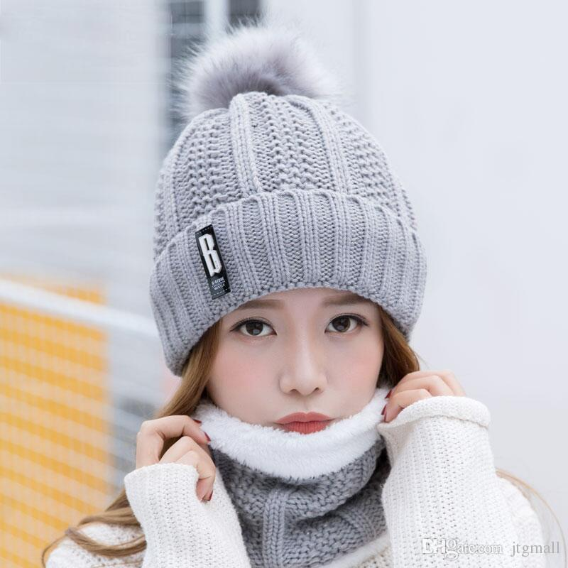 letters knitted Hat Women High Quality Winter Women Ball Ski Rabbit Fur Hat PomPoms Hats knitted scarf