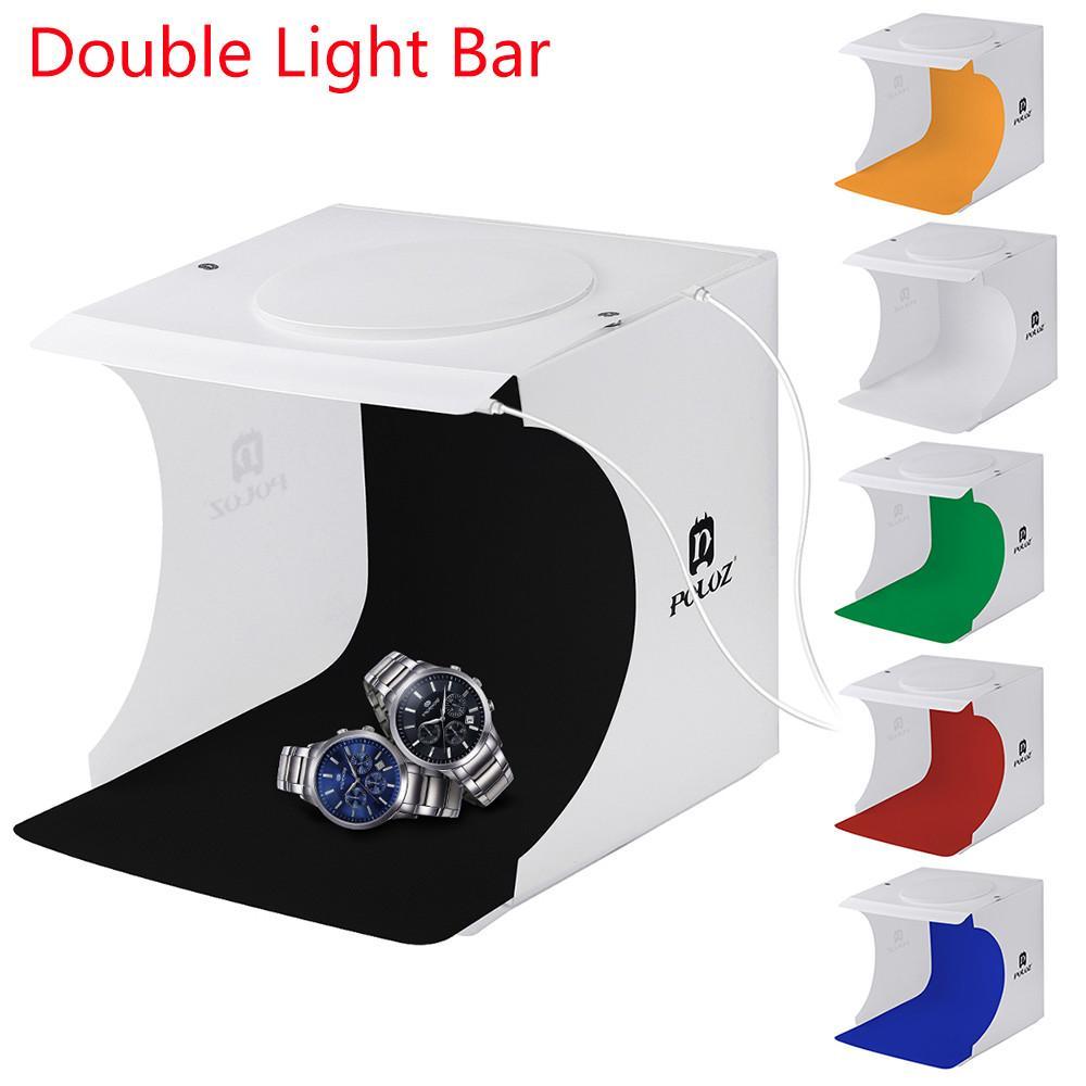 ضوء غرفة مصغرة صندوق مزدوج LED ضوء التصوير الفوتوغرافي استوديو الصور إضاءة التصوير خيمة خلفية مكعب صندوق استوديو الصور دروبشيب