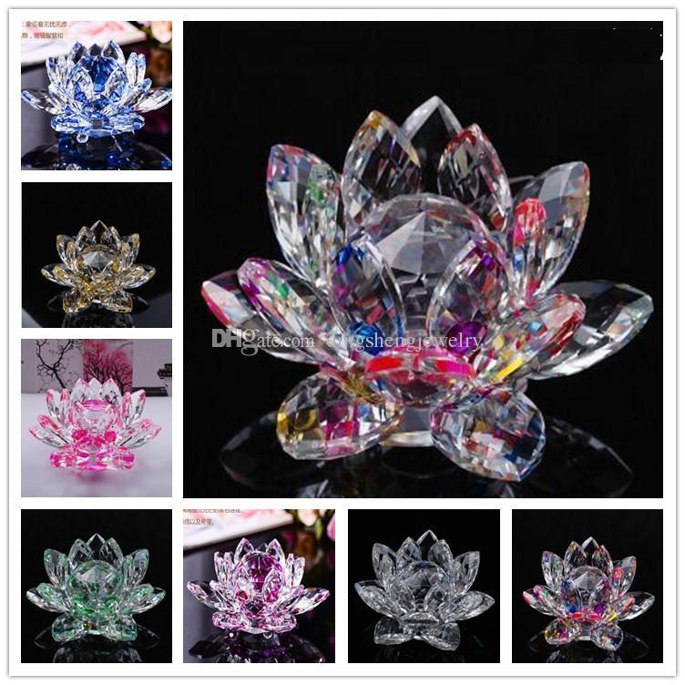 2019 Dingsheng 80mm Artifial Crystal Lotus Flower Crafts Feng Shui