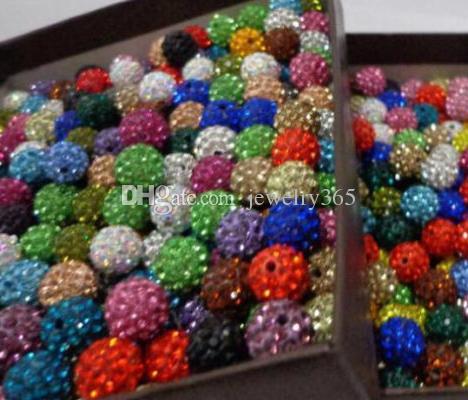 100 pcs Mixed Disco Bola Pave CZ Cristal Spacer Beads Pulseira 8 10 12mm para Fazer Jóias