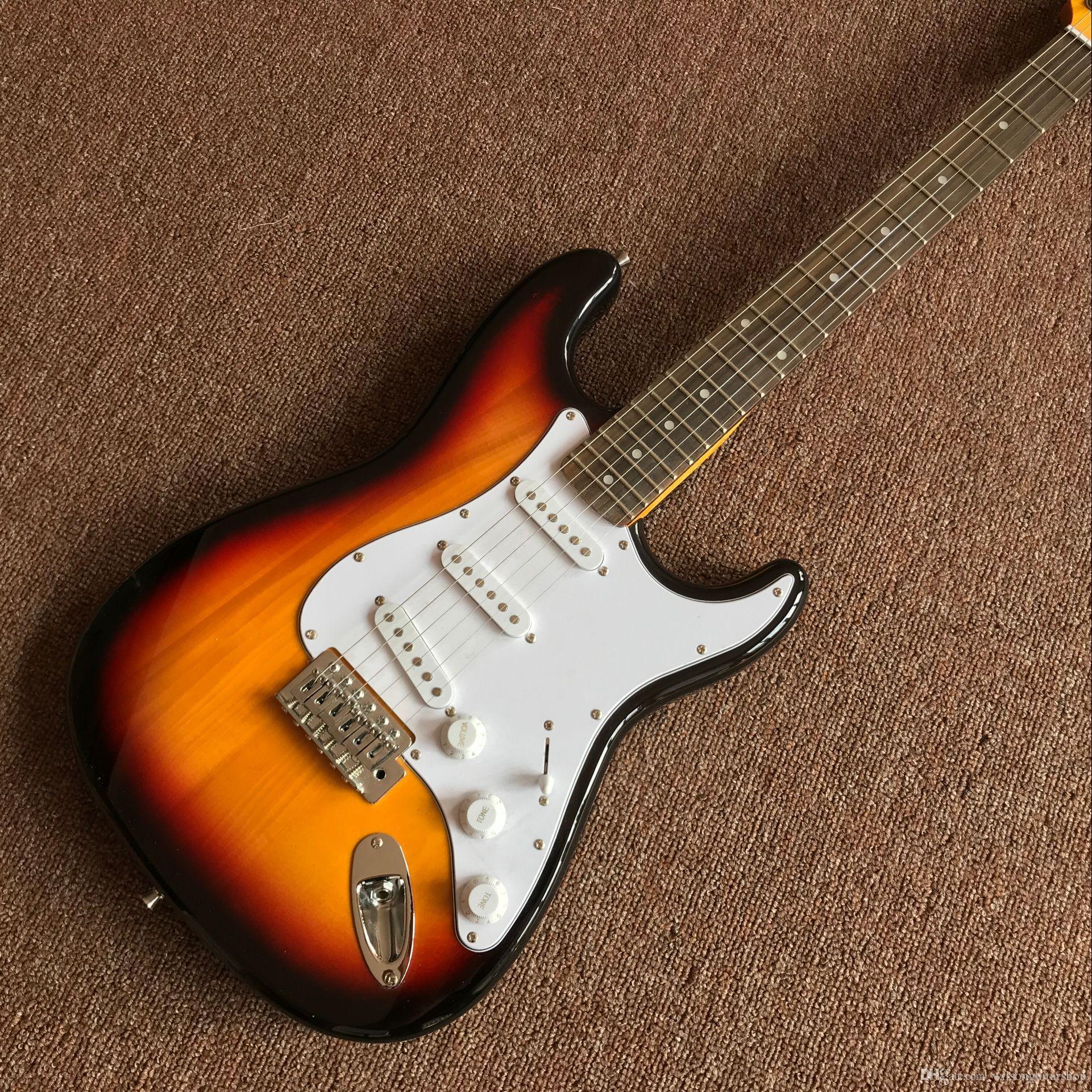 일렉트릭 기타 도매 새로운 fen st 맞춤 상점 일렉트릭 기타 / oem 브랜드 햇살 컬러 gitaar / guitarra 중국에서 실제 사진 보여줍니다