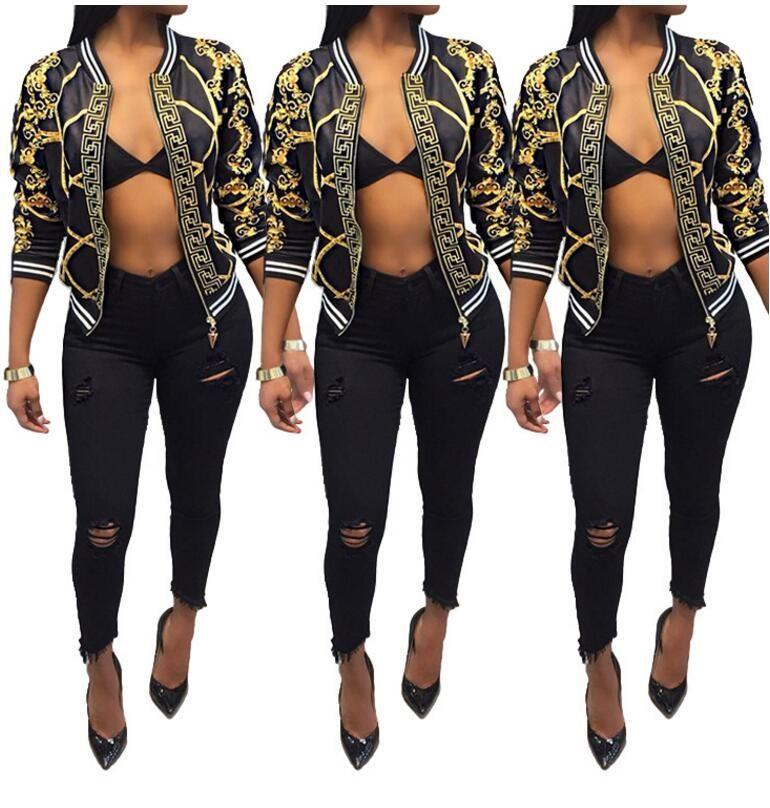 Eine große Anzahl von Bargeld im Herbst 2018 neuen Absatz Digitaldruck Langarmjacke dünnen Mantel Damenbekleidung