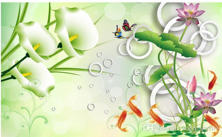 Zdjęcie Tapeta Wysokiej Jakości 3D Stereoskopowy HD 3d Stereo Lotus Calla Calla Karp Tło Wall Salon Room Wallpaper 3D Malarstwo