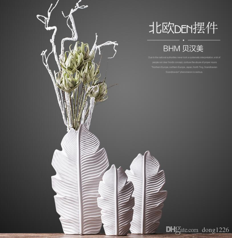 Keramik baum blatt mode Kreative abstrakte blumenvase topf home Decor Craft raumdekoration Handwerk porzellan figur