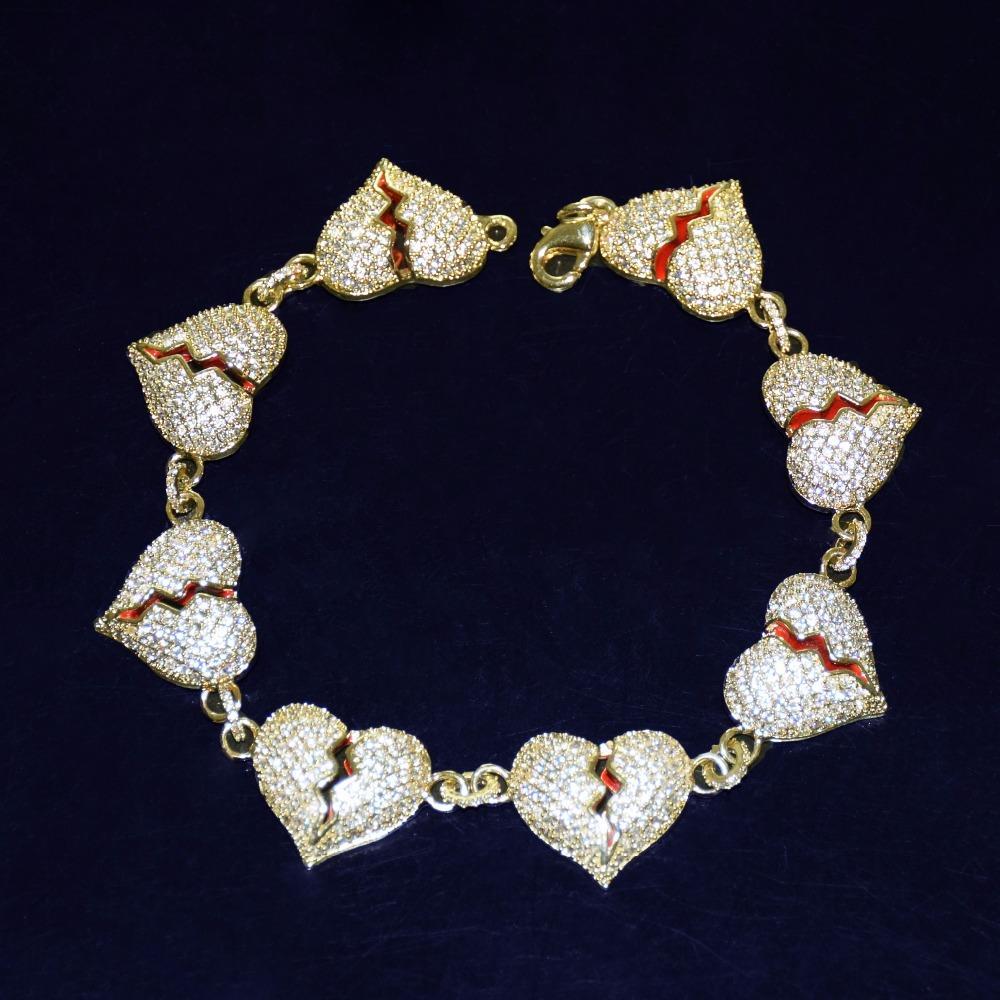 20mm Men's Broken Heart Bracelet Hip Hop Jewelry Womens Zircon Gold Copper Material Iced Out Bling Chain