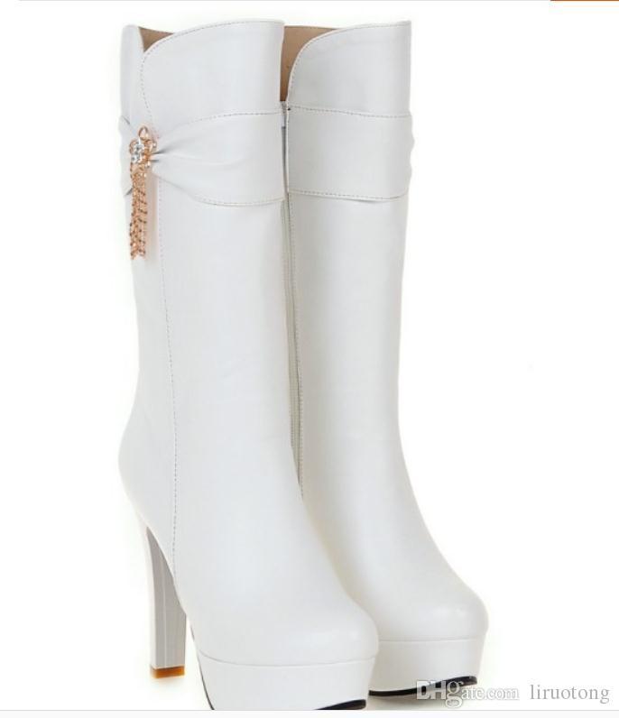 Free send Korean bowknot waterproof table high heel Medium length boots Coarse heel winter 2018 new style women boots