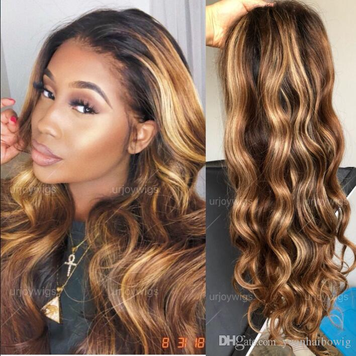 Two Tone Ombre Highlight Lace Front Wigs 100% Brazilian Virgin Human Hair Wavy Full Lace Wig 18 inches Wavy for Beauty Free Shipping