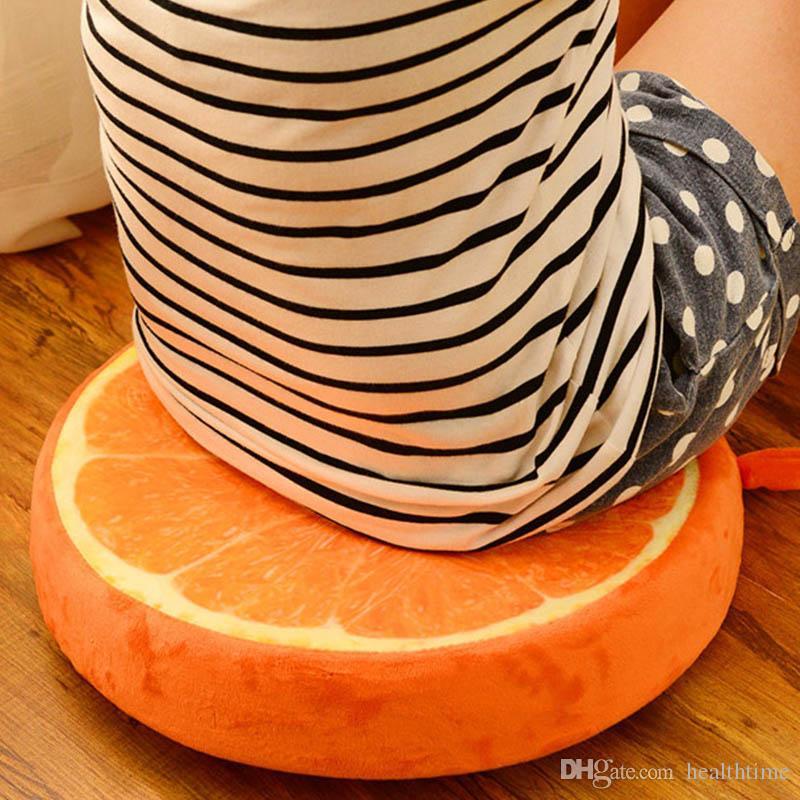 New Creative 3d Fruit Cushion Round Short Plush Watermelon Cushion Office Sofa Nap Cushion Free Shipping