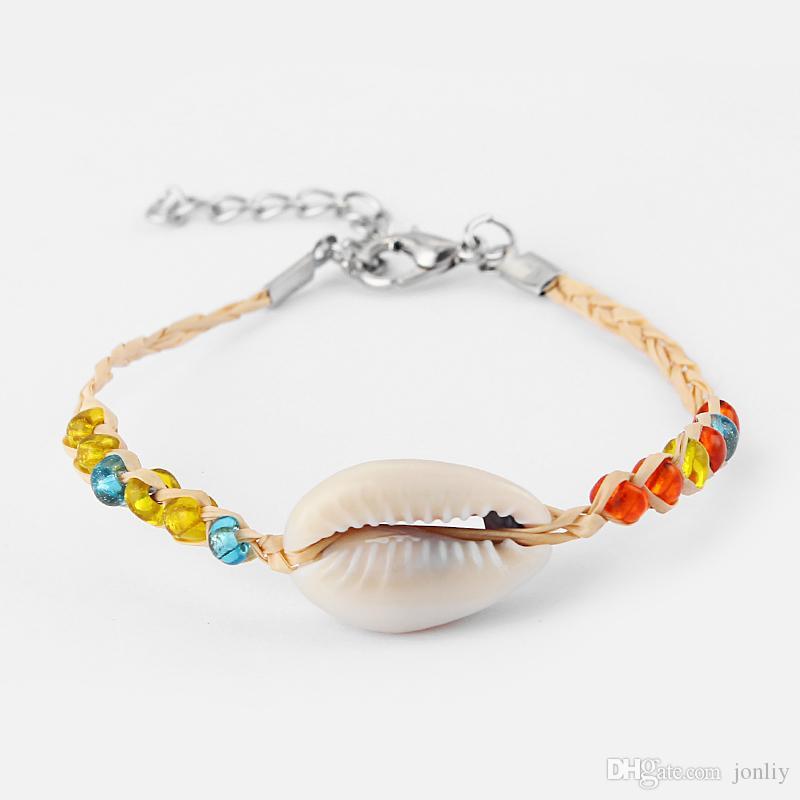 10 قطع الطبيعية شل ، الزجاج البذور حبة المنسوجة الغصن أساور الصداقة تصفح المجوهرات الجميلة