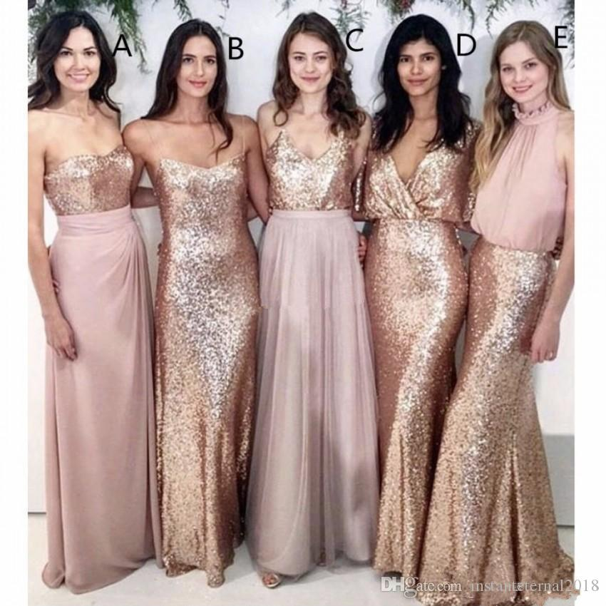 Modest Blush Pink Beach Wedding Bridesmaid Dresses with Rose Gold Sequin Mismatched Wedding Maid of Honor Gowns Women Party Formal Wear 2018