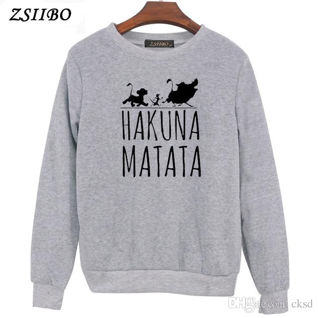 Hakuna Matata letter Print Womens Hoodies Long Sleeve O Neck Hoodie Sweatshirt Jumper Pullover Tops Autumn Winter Coat WY54