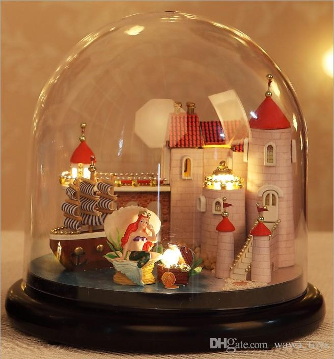 Wood DIY House Glass Ball Model Kits Dollhouse Toy Doll Gift Handcrafts with LED