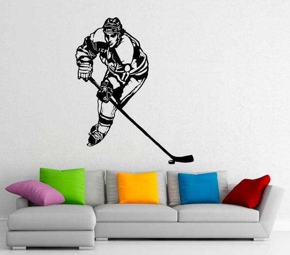 Hockey Wall Sticker Decal Stickers and Mural for Nursery Kid's Room Sport Wall Art for Home Decor Ice Hockey Player Silhouette Mural