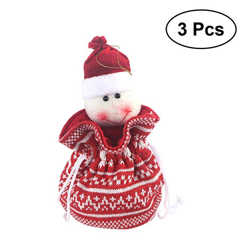 3 pcs Bonito Com Cordão Boneco De Neve De Lã De Tricô Doce Saco de Presente Saco para Festa de Decoração Para Casa de Natal