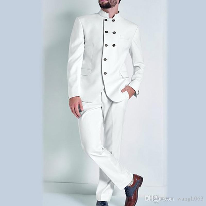 Beyaz Hint Erkekler Düğün Damat Giymek için Uygun Kruvaze Iki Parçalı Trim Fit Groomsmen Smokin Ceket Pantolon