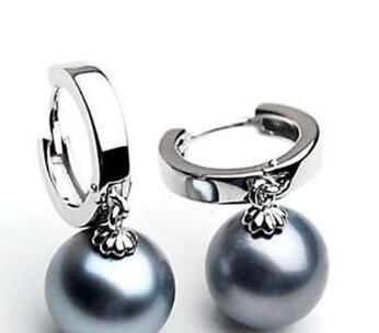 10 11mm Tahitian Black Pearl Earrings