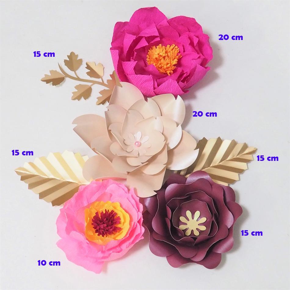 Dev Krep Kağıt Çiçekler Yapay Flores Artificiale Düğün Olay Backdrop Için 4 ADET + 3 Yapraklar Bebek Kreş Sıcak Mix Zanaat Malzemeleri