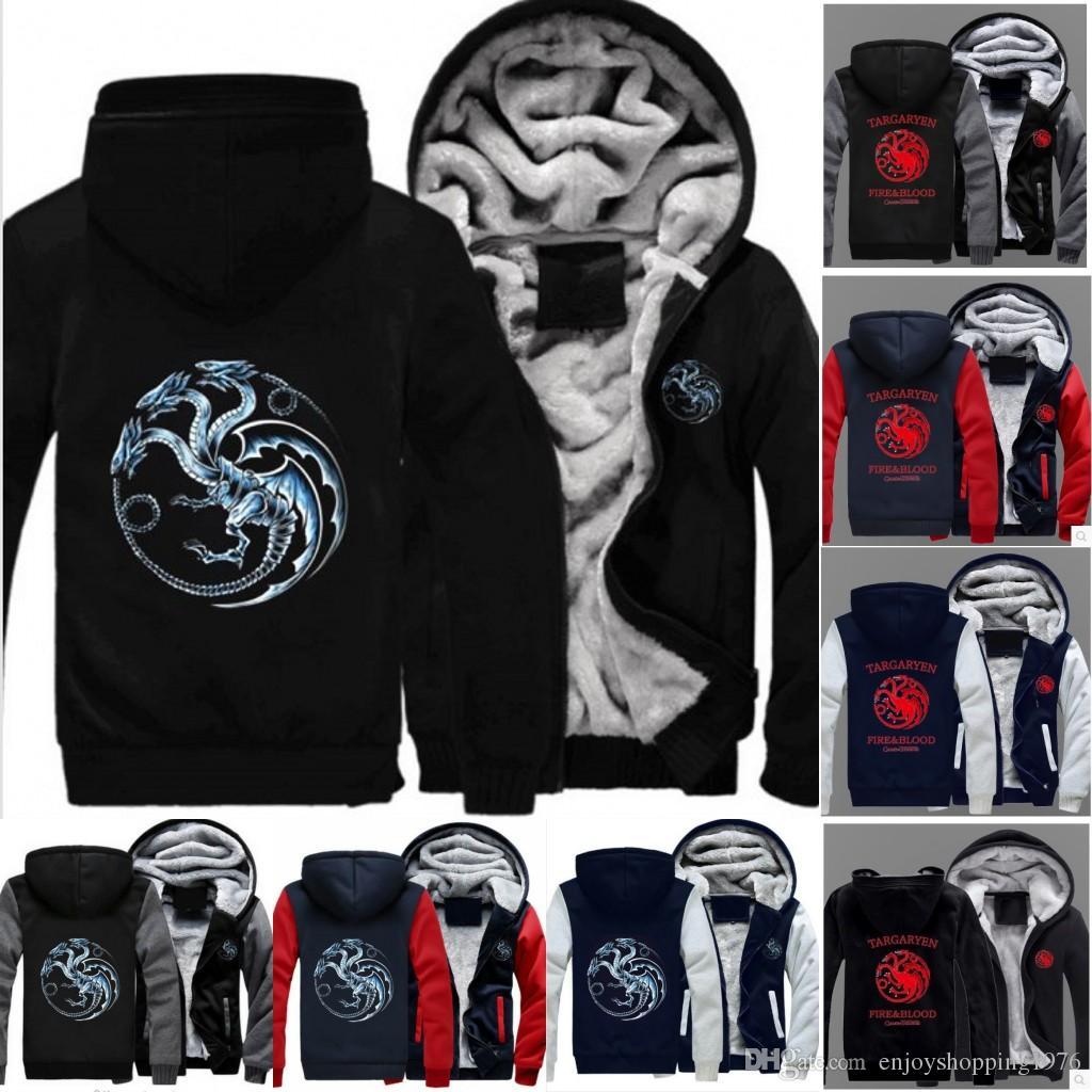 NEW!Game of Thrones House Stark Hoodie Winter Fleece Coat Unisex Sweater Jacket