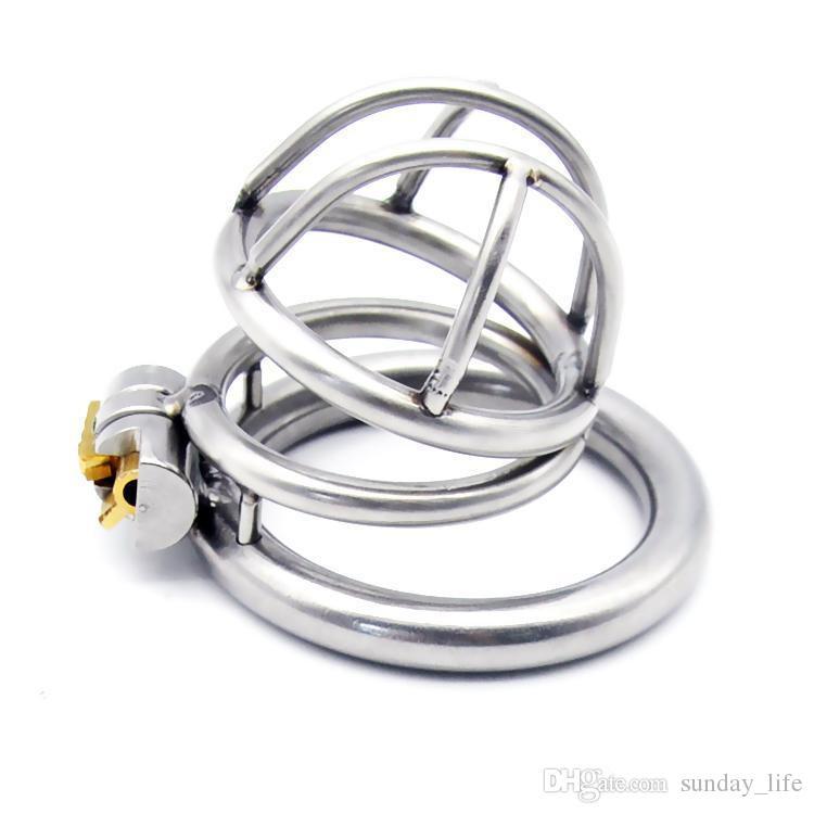 Free Shipping!!!New Lock Stainless Steel Male Chastity Device Cock Cage Penis Virginity lock Cock Ring Sex Toy Adult Game Chastity Belt
