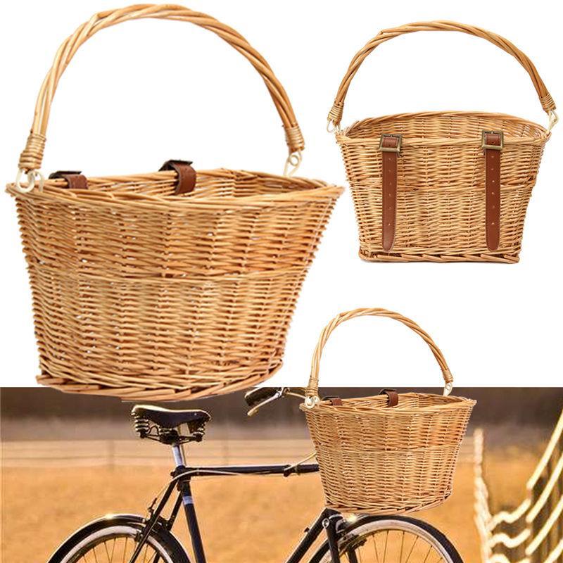 Panier à vélo en osier 35x26x22cm avec bretelles marron Panier à vélo léger résistant idéal pour le transport