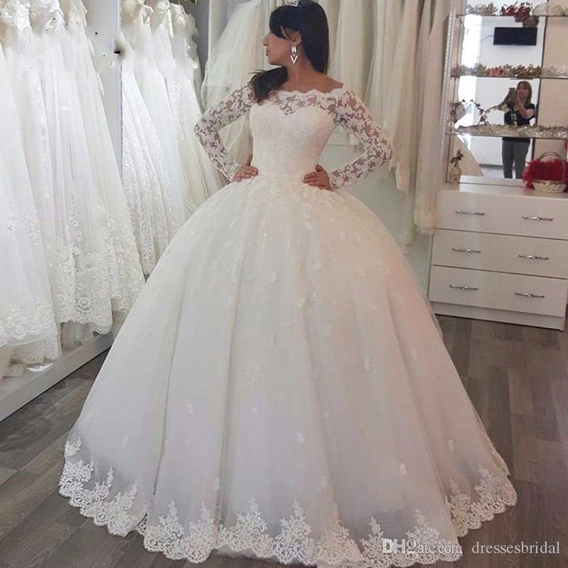 Manches longues gonflées robe de mariée robes de mariée robes de mariée personnalisées maillées maxi maxi maxi vestido de casamento