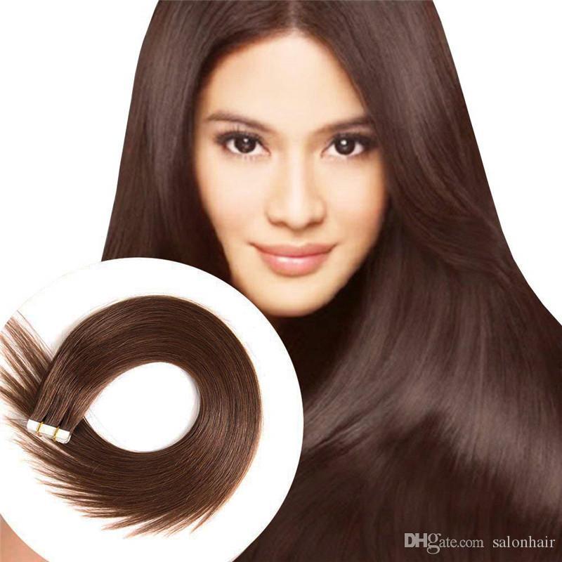Großhandel direkt ab Werk liefern dicke Enden # 4 mittlere braune remy haarband in menschenhaarverlängerungen 50g 20 stück