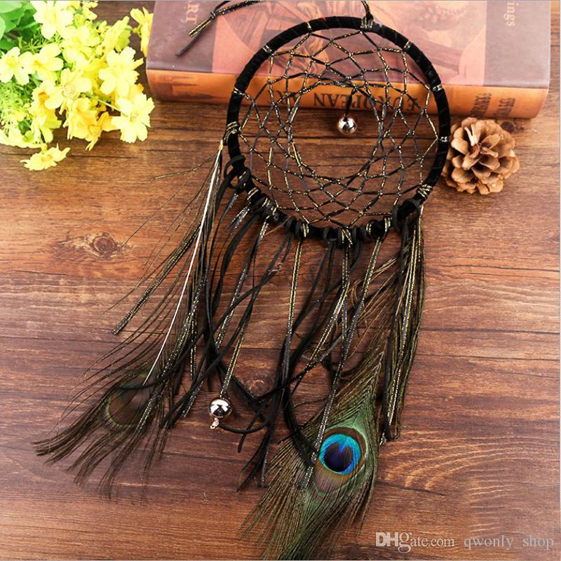 Vintage Peacock Feather Dreamcatcher campanelli eolici fatti a mano nappa pendente Dream Catcher auto parete appesa decorazione regalo arte