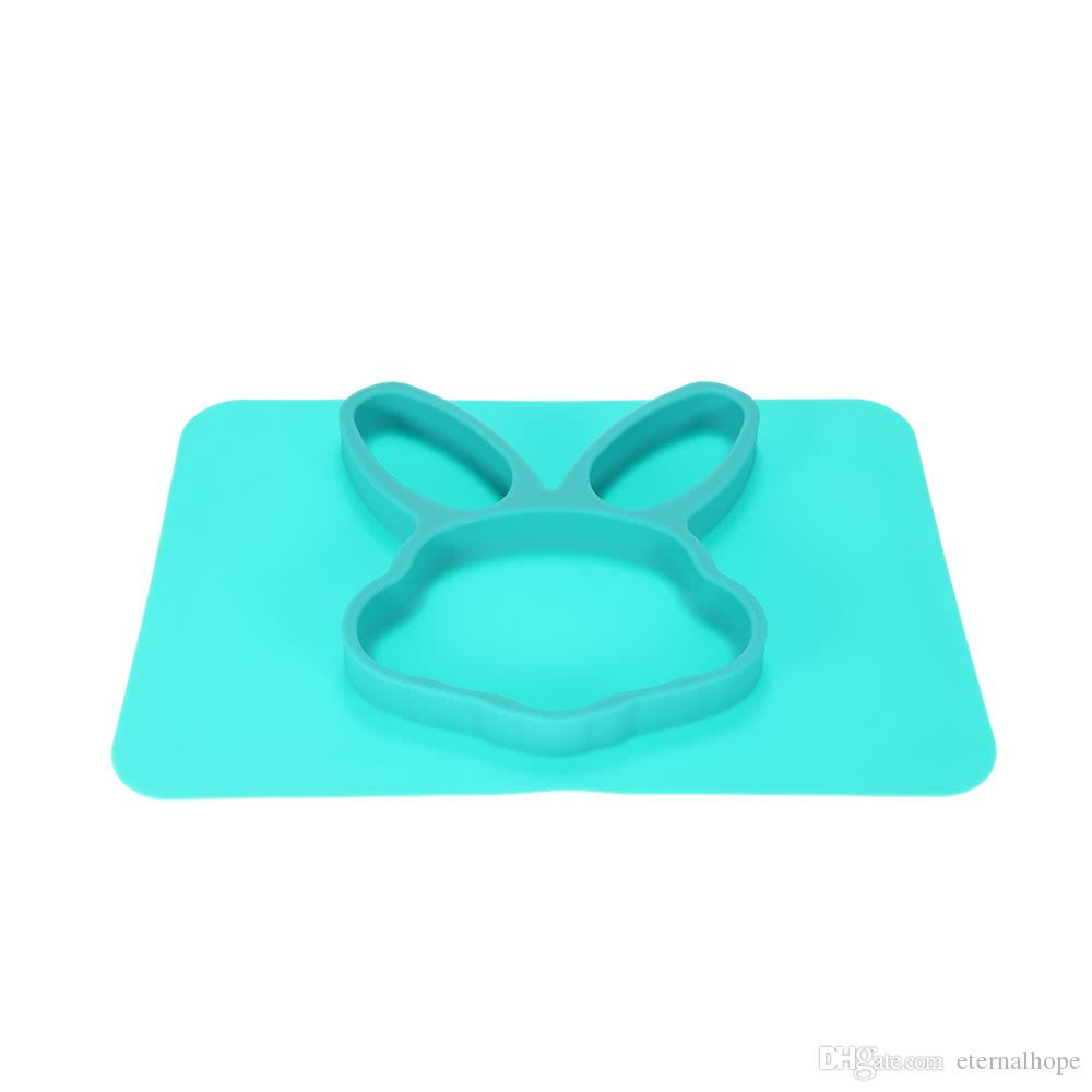 2 in 1 Safe Waterproof Silicone Green Rabbit Divided Placemat Plate Bowl Tableware for Baby Toddler Kids