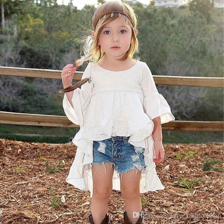 Vente au détail Blanc Rouge Black Baby Filles Asymétriques Robe d'Asymétriques Enfants Coton Flare Sleeve Robe Fashion Mignonne Tutu Robe Enfants Designer Vêtements