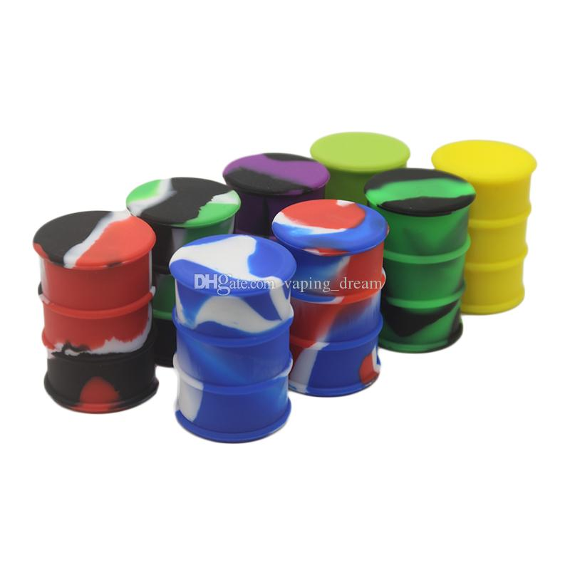 Silicone alimentaire antiadhésives Barrel contenants en silicone forme de tambour Container cire Vaporizer Dabber Jar Pour l'huile Rig verre Pyrex Bong