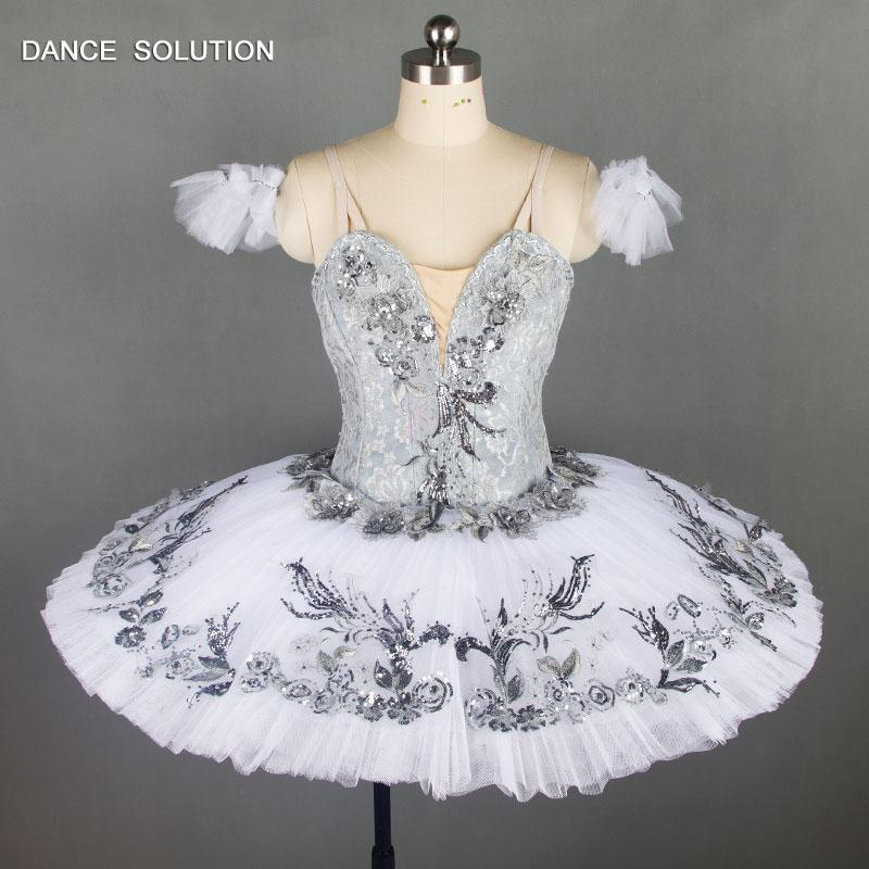 Professional Ballet Tutu Grey White Snow Queen Classical Ballet Stage Costume Nutcracker Performance Pancake Tutu