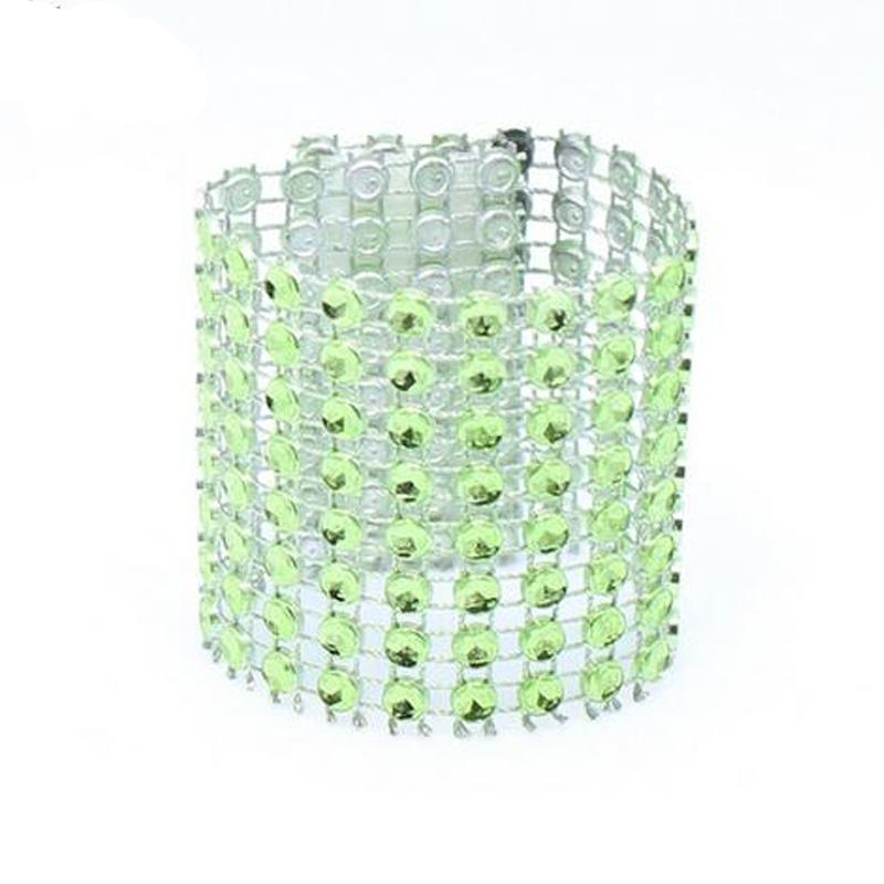 100Pcs/Lot Plastic Rhinestone Wrap Green Napkin Ring New Napkin Rings Chair Buckle Hotel Wedding Supplies Home Talbe Decoration