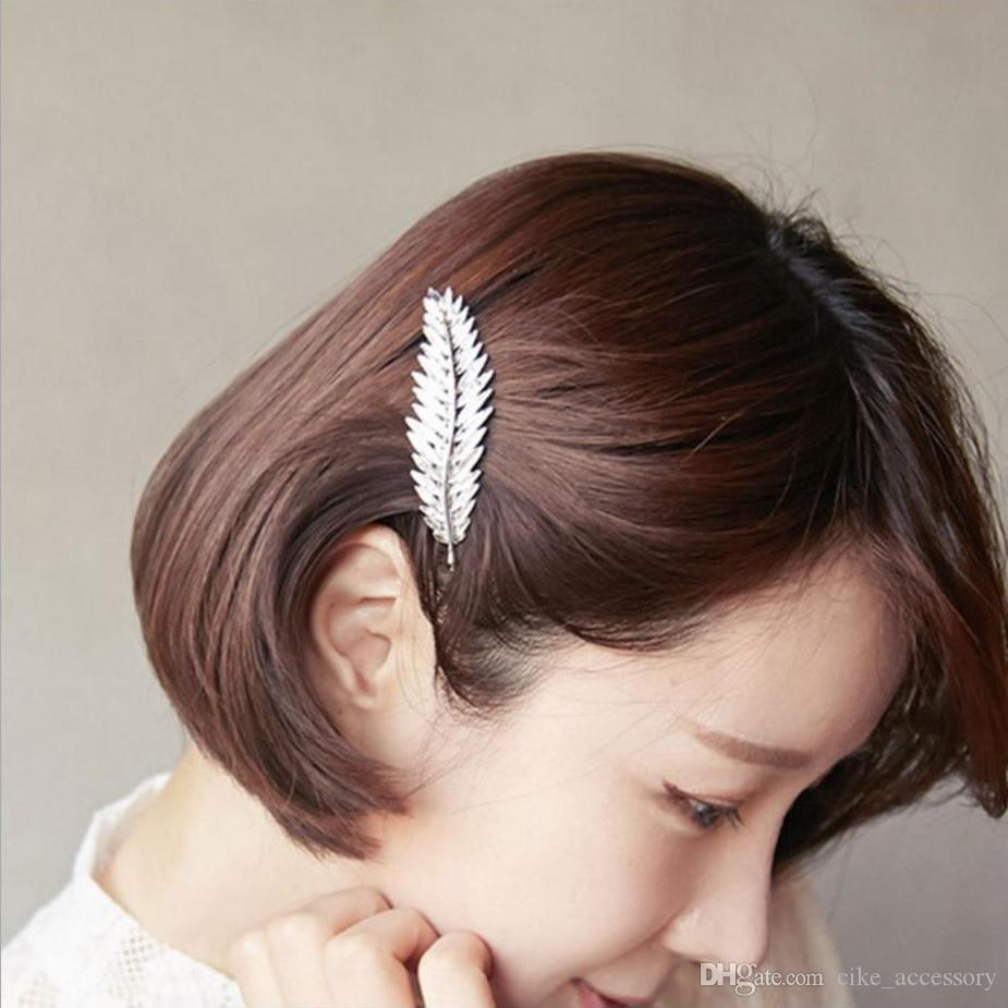 Fashion Design Feather Leaf Hairpin with clear line Gold or silver plated for Women hair clip