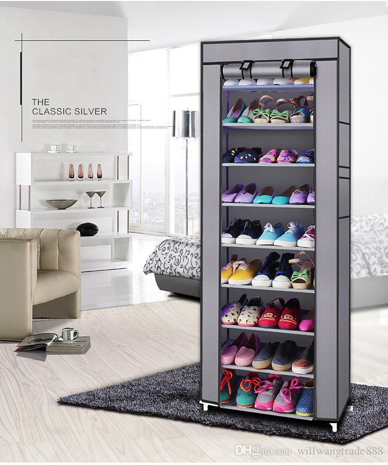 Fashionable Room-saving 9 Lattices Non-woven Fabric Shoe Storage Shoe Rack Gray