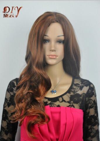 Free shipping+++Japan Kanelaon Silk Women Brown Mix Wavy Cosplay Long Hair Full Wig