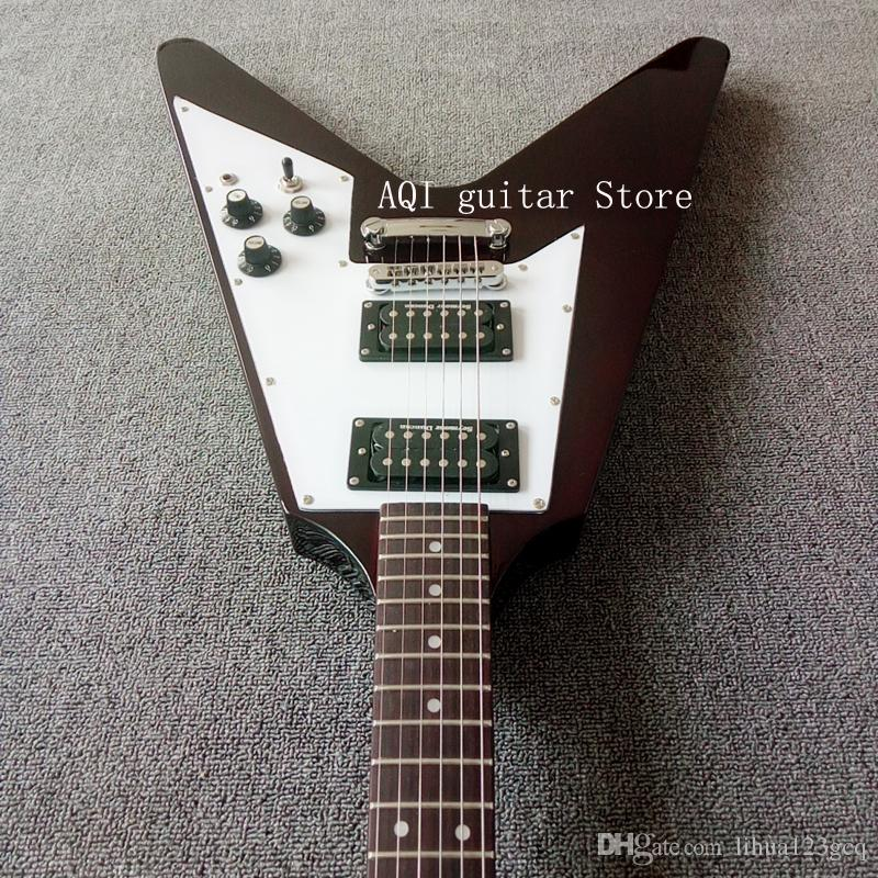 Ücretsiz nakliye / Kestane kırmızı / Maun gövde / Gülağacı klavye / 22 frets / Uçan V 6 dize elektrik gitar / Özelleştirilebilir renkler