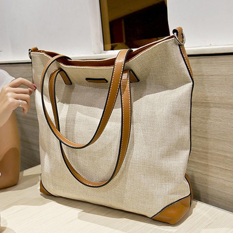Großhandel Designer Leder Frauen Handtasche Hobo Schultertasche Leinen Stoff Umhängetasche Hochwertige Gewebte Strand Umhängetaschen Korb Taschen Von